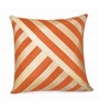 Zikrak Exim Beige & Orange Polyester 16 x 16 Inch Oblique Design Cushion Cover