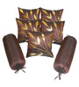 Zikrak Exim Brown Polyester Bolster & Cushion Cover - Set of 7