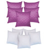 Zikrak Exim Purple & White Polyester 16 x 16 Inch Cushion Cover with Inserts - Set of 10