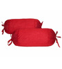 Zikrak Exim Red Polyester 24 x 10 inch Bolster Cover - Set of 2