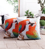 Zila Home Multicolour Cotton 16 x 16 Inch Chirping Parrot Cushion Cover