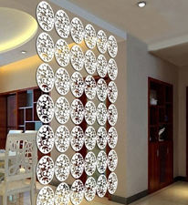 Planet Decor White Coloured Flower and Leafs Room Divider