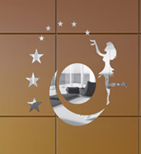 Zeeshaan 3D Mirror Moon And Angel Wall Sticker