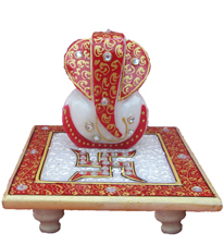 ECraftIndia Ridhi Sidhi With Swastik On Marble Chowki