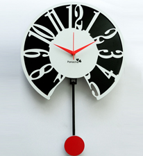 Panache Pendulum Number Wall Clock - Black