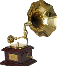 Home Sparkle Brass Square Gramophone