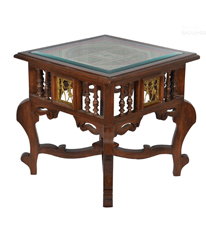 ExclusiveLane Side Table with Dhokra and Warli Work